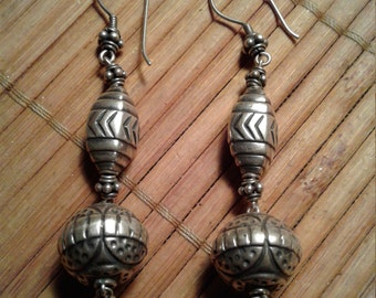 Vintage Sterling Silver Earrings Artisan Design