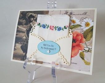 Vintage Petite Handkerchief Embroidered Keepsake Will You Be My Bridesmaid Bridal Attendant Hanky Card