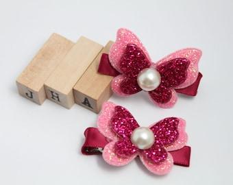 Children/Girls/Baby girl hair clip - Glitter Butterfly Pink