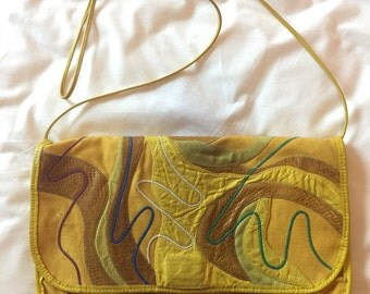 RARE** Carlos Falchi / Clutch / Shoulder Purse / Snake Skin / Leather / Yellow