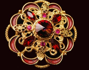 Red Rivoli Flower Brooch - Crystal rhinestone - Enamel  - gold  - Atomic pin