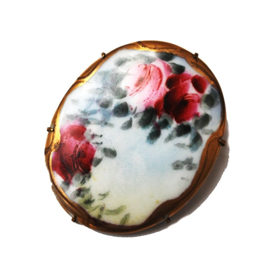 Hand Painted Porcelain Brooch - Pink rose floral - Gold accent - Antique Victorian - C clasp Flower pin