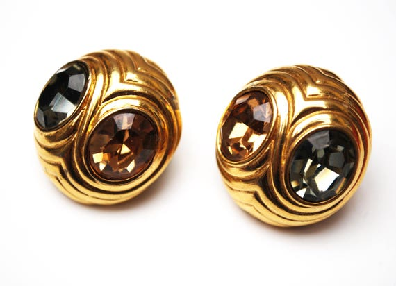 Ciner  Earrings  - Grey Champagne Crystal Rhinestones -  gold Plated -  Clip on  Earrings - Gift for you