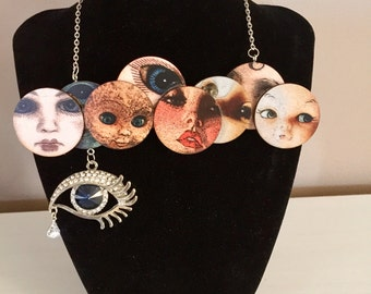 Weeping Dolls  Face Necklace