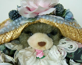 Victorian Dressed Bear - Tea Party Stuffed Bear - Custom Made - Flowered and Lace Chintz Dress