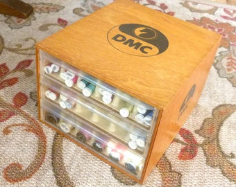 DMC Wood Store Thread Display - Three Drawer - Counter Top Display WithThree Drawers of Embroidery Thread