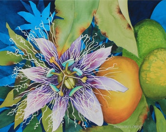 Art Original Watercolor Painting of a Tropical Hawaiian PASSIONFLOWER and LILIKOI