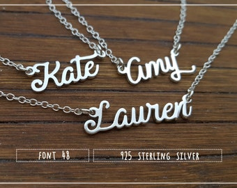 Name Necklace-Custom Name Necklace-Personalized Name Necklace-Custom Name Gift-Your Name Necklace-Bridesmaids Jewelry-Children Names #NF48