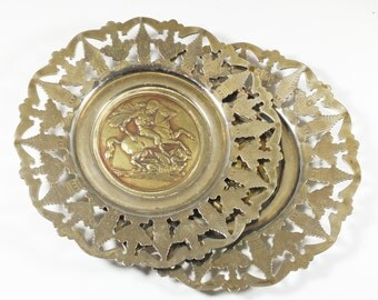 Pair St George & Dragon metal dishes, Small round pin tray, Pierced edges, Copper tray