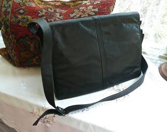Large Shoulder Bag - Black Leather Tote - Computer Bag - Leather Shoulder Strap - Interior Wallet - Multi Compartment - Flap Over Closure