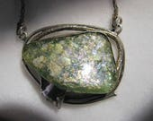 """Vintage ANCIENT ROMAN GLASS Necklace by Avi Soffer -- Sterling Silver, 19.3g, 24"""" Long, Big Piece of Glass with Gorgeous Color"""