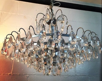 Vintage Crystal Prism Chandelier 7 Tier Hollywood Regency Silver Glam
