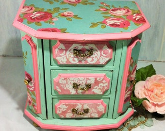Turquoise Jewelry Box Armoire, Pink Damask Jewelry Box Organizer, Cabbage Rose Jewelry Armoire, Vintage Wood Jewelry Box, Mother's Day Gifts