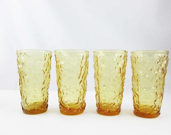 Four Vintage 'Lido Milano' Amber Glass Tumblers - Vintage Anchor Hocking - Drinking Glasses Set of 4 -  Retro Drinkware