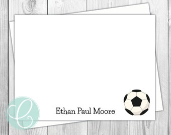 Soccer Boys or Girls Note Cards - Stationery - Sports Boy Flat Note Cards - Set of 12 - Personalized Birthday Thank You Cards - Kids