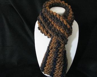 Navy and ochre Infinity scarf