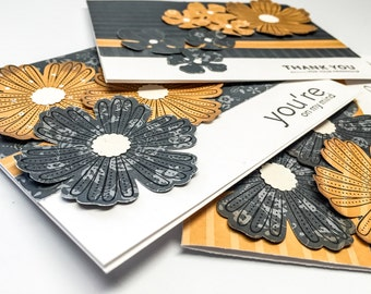Stampin Up handmade cards - grey - mustard yellow Flowers - thinking of you - thank you - you are on my mind - set of cards - flower cards