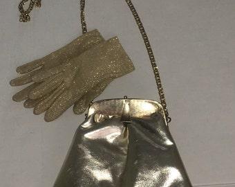 Vintage Gold Lame Clutch Super Chic Gold Gloves