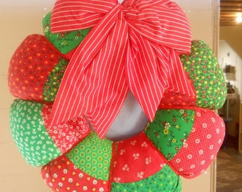 70's Cloth Christmas Wreath Faux Quilt Red Green Stuffed Patchwork Wreath