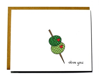 Cute I love you card, Olive you card, Valentines Day, Anniversary card
