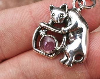 Sterling Silver Cat Pendant Pink Tourmaline