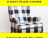 Navy Buffalo Plaid Chairs and Pillows - CUSTOM - RESERVED