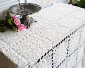 Fancy Crochet Tablecloth/Ivory Wedding Tablecloth/ Shabby Chic Tablecloth/For Serving/Lace Bedding Throw/Shabby Chic Curtain