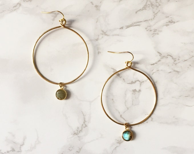 Gold Hoop Earrings - Labradorite Gemstone