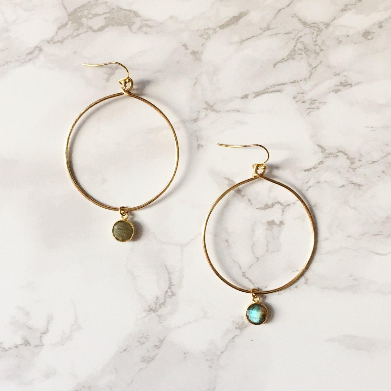 Gold Hoop Earrings - Labradorite Gemstone
