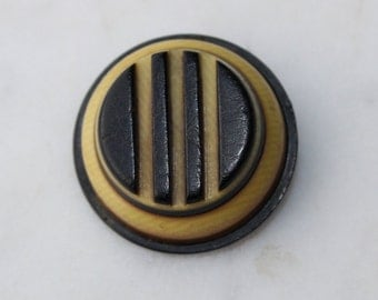 vintage celluloid button black and cream art deco striped. one inch diameter. 1920's sewing supply