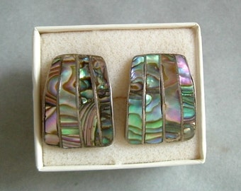 Signed Taxco Sterling & Abalone Cufflinks for Woman or Man