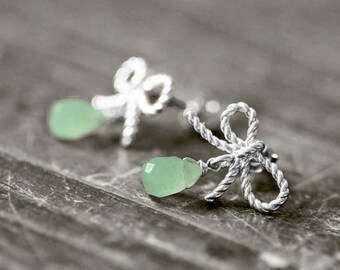 RIBBON Studs Bow and Gem | silver