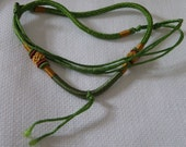 Braided Woven Gold and Green Silk Cord Necklace - 20 inch adjustable