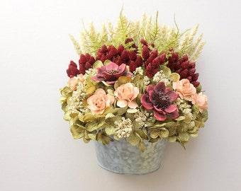 Modern Floral Arrangement, Floral Wall Hanging, Silk Flower Arrangement, Wall Pocket, Dried Flower Arrangement, Home Decor Floral