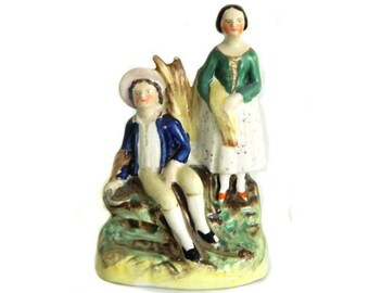 19th Century Staffordshire Pottery Group Figurine Harvest Couple