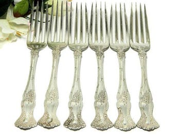 Six Antique Rogers Bros Silverplate Salad Dessert Forks 1904 Vintage Grape Pattern