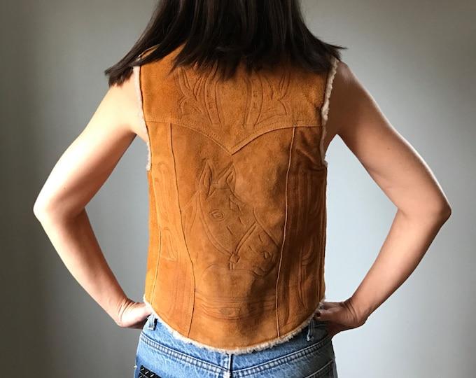 Vintage Western Suede Sherling Vest