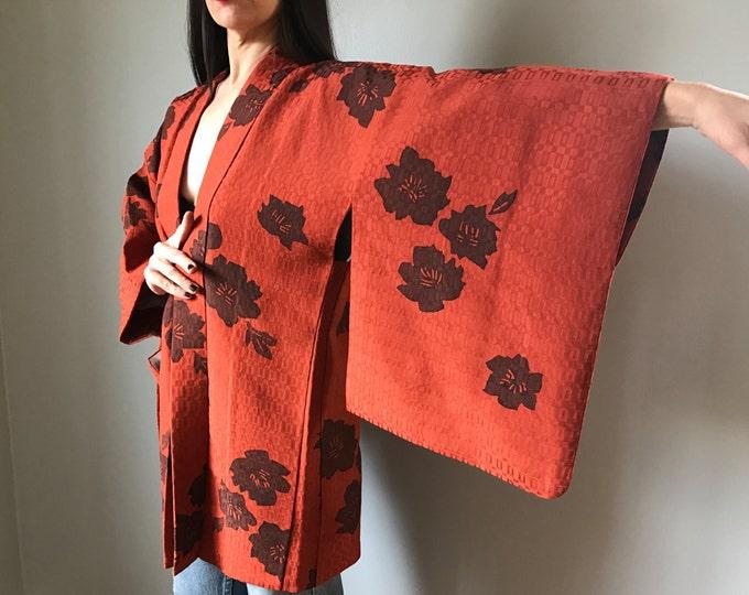 Vintage Haori Kimono Orange Short Jacket