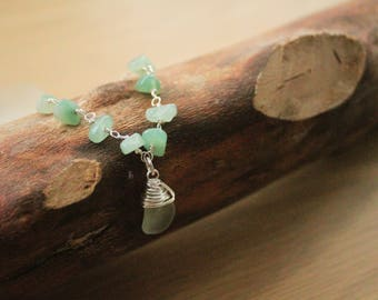 Aventurine and Seaglass Short Necklace