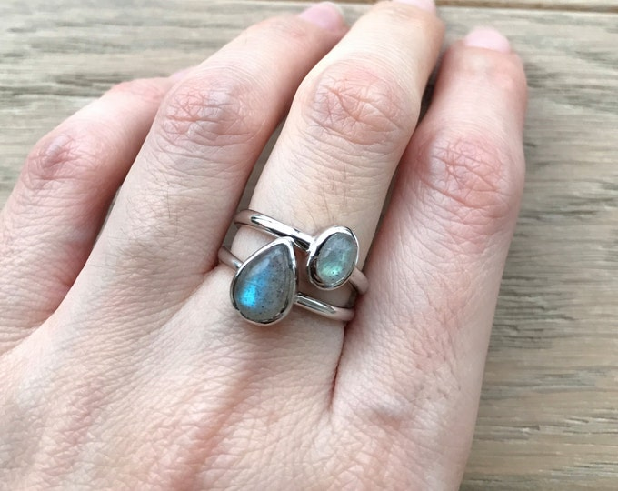 Oval Pear Labradorite Stackable Ring- Midi Boho Pinky Knuckle Ring- Unique Stacking Sterling Silver Ring- Smooth Gemstone Rings