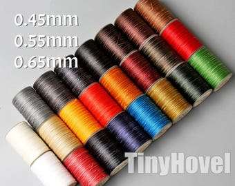 0.45mm/0.55mm/0.65mm Sewing Threads for Leather Craft, Flat Waxed Polyester braid thread for hand stitching -SW001