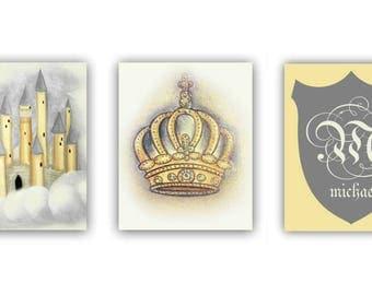 Little Prince Nursery, Royal Crown, Castle Wall Art, Cream Yellow, Custom Name, Initials, Boy Nursery Decor, Boy Nursery Art, Boys room art