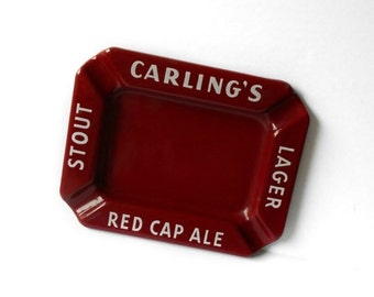 ON SALE Vintage Ashtray Carling's Red Cap Ale Stout Lager Beer Tobacciana Breweriana