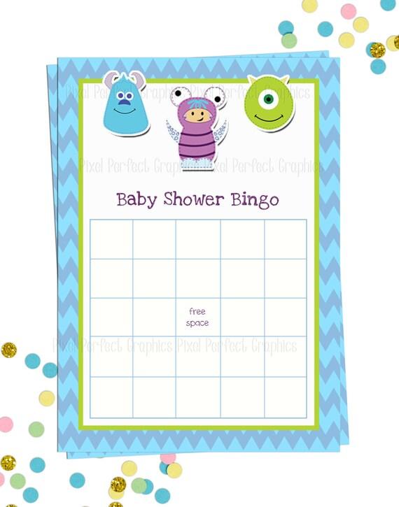 monsters inc baby shower bingo sheets instant download