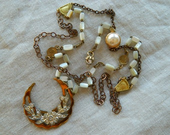 SALE 15% coupon code MARCH15 Assemblage Necklace Cresent Moon Rhinestones Vintage Mother of Pearl Rosary by 58diamond