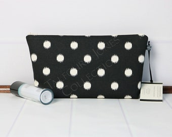 Travel Toiletry Bag - Polka Dot Makeup Bag - Black Cosmetic Pouch - Medium Zipper Pouch - Travel Accessory - Premier Prints - Gift for Her