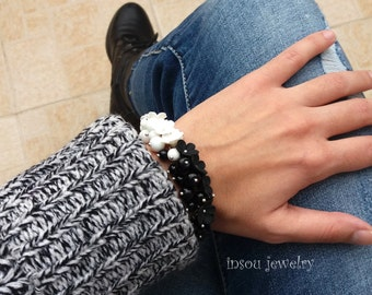Black White, Flower Bracelet, Forget Me Not, Black White Jewelry, Flower Jewelry, Statement Bracelet, Gift For Women, Beaded Bracelet