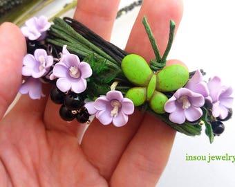 Flower Bracelet, Charm Bracelet, Wrap Bracelet, Handmade Bracelet, Green Bracelet, Boho Bracelet, Spring Jewelry, Women Gift, Butterfly