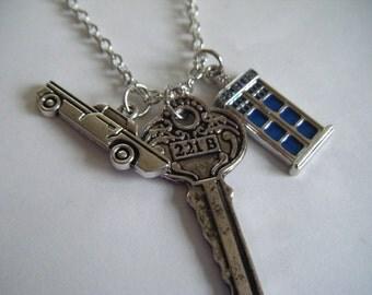 SuperWhoLock Necklace Supernatural Dr Who Sherlock Fandom Geek BBC TV Series Blue Tardis Impala 221B Baker Street Whovian Demon Hunters
