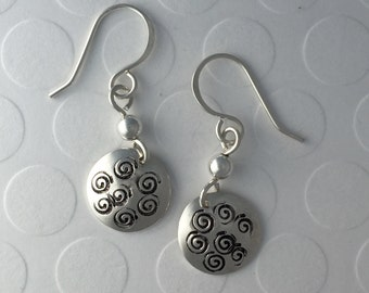 Hand Stamped Sterling Silver Earrings, Swirls all around, with silver bead